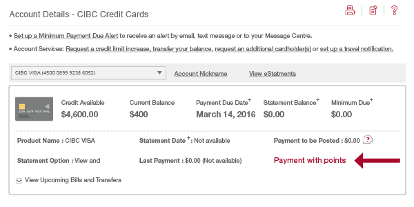 screenshot displaying location of Payment Points link
