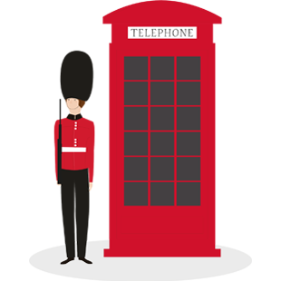 Illustration of a London telephone booth and a Buckingham Palace guard.