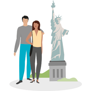 Illustration of couple standing beside the Statue of Liberty.