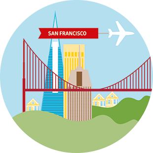 Illustration of San Francisco skyline with plane pulling a banner with the name of the city.
