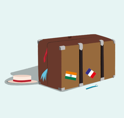 Suitcase with sticker flags and a sun hat