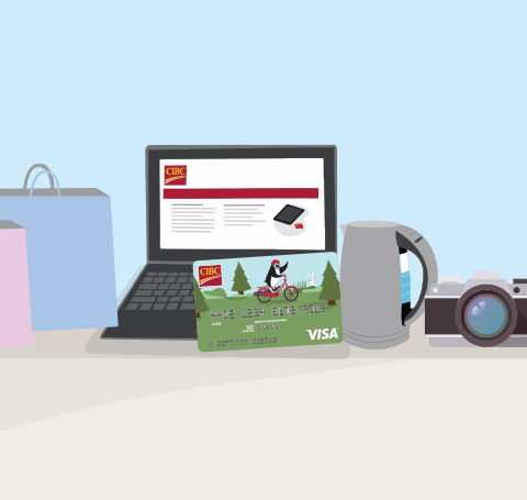 Computer, shopping bags, camera and a CIBC Visa card.