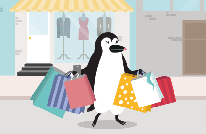 Penny Penguin carrying shopping bags in both hands.