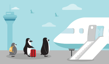 Penguin family boarding a vacation flight.