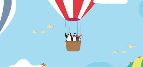 Percy and Penny Penguin enjoy a hot-air balloon ride.
